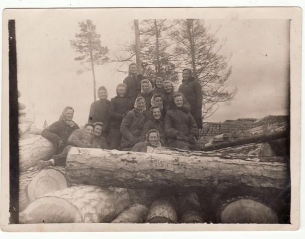 Darbščiosios tremtinės lietuvaitės Sibiro taigoje dirbo sunkius fizinius darbus. Apie 1953 – 1954 m.