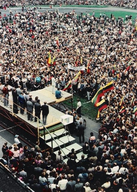 Lietuvos Persitvarkymo Sąjūdžio Panevėžio iniciatyvinės grupės suorganizuotas pirmasis mitingas mieste. 1988 m. rugsėjo 11 d. Fotografas Antanas Gylys